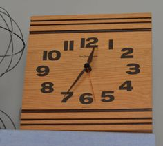 NEW HAVEN Quartz Vintage Square Wood Wall CLOCK by Oldgreenlion, $30.00