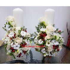 Lumanari nunta bumbac si trandafiri Table Decorations, Floral, Design, Home Decor, Decoration Home, Room Decor, Florals, Flower, Dinner Table Decorations