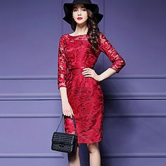 Women's+Casual/Daily+/+Party/Cocktail+Street+chic+Shift+Dress,Solid+Round+Neck+Knee-length+¾+Sleeve+Blue+/+Red+Polyester+–+USD+$+18.99