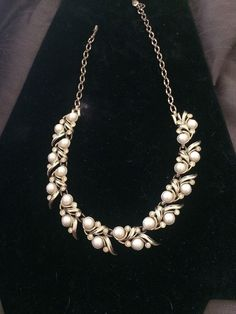 Vintage Sarah Coventry Gold Tone Necklace Faux Pearls Rhinestones #SarahCoventry #Choker
