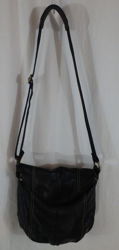 The Sak Deena Crossbody Handbag Hobo Purse Black Pebbled Leather EUC Fully Lined…