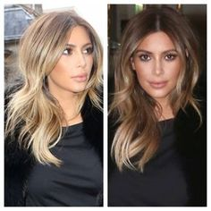 Kim Kardashian: the rooted buttery blonde. Love this colour. Total Inspo! We are I love with these #haircut and #balyage #haircolour on Kim K. #❤️