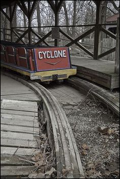 Abandoned Cyclone Roller Coaster at an Amusement Park. YoungDumbAndFun - Travel Blog