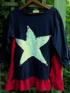 Plus Size 4th of July Tunic/ Red White and Blue by SheerFab