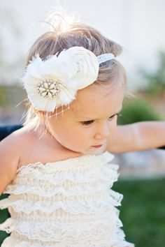 I think Leigha should wear this outfit for our wedding! Rosette Headband, Flower Girl Headbands, Cute Headbands, Flower Girl Dresses, Flower Girls, Our Wedding, Dream Wedding, Wedding Ideas, Ivory Silk