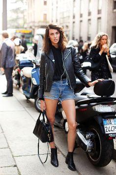 Ruby Aldridge // Leather moto jacket, cut-off jean shorts & ankle boots #style #fashion #streetstyle #modeloffduty