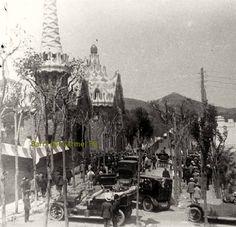 Entrada del Park Güell amb ocasió d'un dinar organitzat per la Lliga Catalana l'any 1921 amb l'assistència de Francesc Cambó i uns 5000 convidats. Foto de Masó.