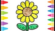 Glitter Sunflower how to coloring and drawing for Kids & Color pages Fun At Work, Drawing For Kids, Coloring For Kids, Glitter, Drawings, Painting, Coloring Pages For Kids, Painting Art, Paintings