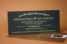 #Black #suede Save the Dates with gold foil. Simple elegance.