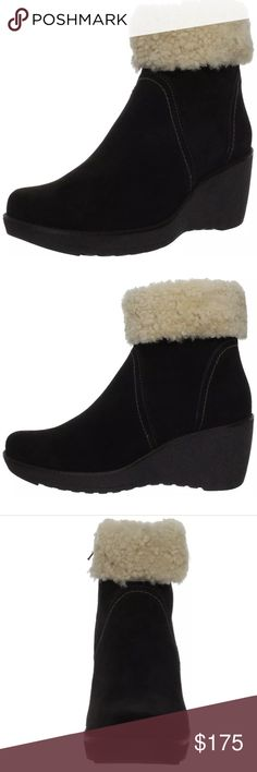 La Canadienne Vicky Boots Coco Suede BRAND NEW 7.5 Very popular style! Coco Suede Dyed Sheep Fur  Synthetic sole A shearling wool collar cushions and warms in this cozy wedge boot. A shearling wool collar cushions and warms in this cozy wedge boot.La Canadienne began seventy years ago in Montreal, the heart of Canada's fashion capital, with the intention of creating comfortable, versatile footwear. Our factory in Montreal today produces shoes and boots that are fashionable and waterproof and…
