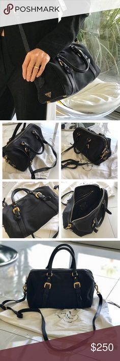 Preloved PRADA Logo Jacquard Canvas Bag 👌🏻🖤EUC I bought this cute little Black Prada canvas Satchel at the Prada Store in Desert Hills. LEATHER Cross body strap, top handles and accents, gold hardware, subtle embossed logo on canvas. CLEAN. No tears, stains, minimal signs of wear - gold zipper pull shoes some minimal wear. I carry a giant tote now- it's just too small for me! SO CUTE! RARE style. Comes with dust bag! (There is a blue stain on the string of the white DUST bag, FYI!) Prada…