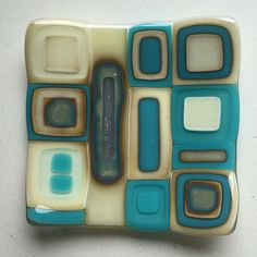 Fused glass - mixed reaction dish using vanilla, turquoise and silver