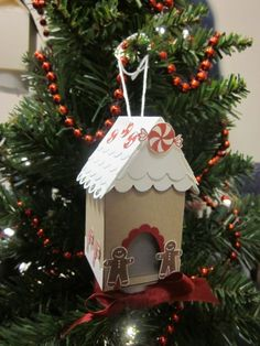 Stampin' Up!  Milk Carton  Heather Wilber  Gingerbread House Ornament
