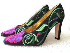 ZALO Heels Shoes 7M Black Suede Floral Brocade