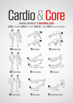 Cardio & Core - Darebee Workout - Fitness is life, fitness is BAE! <3 Tap the pin now to discover 3D Print Fitness Leggings from super hero leggings, gym leggings, fitness, leggings, and more that will make you scream YASS!!!