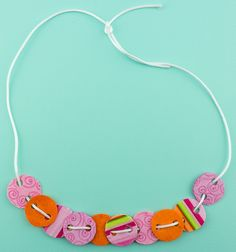 String simple shapes together for a colorful necklace.