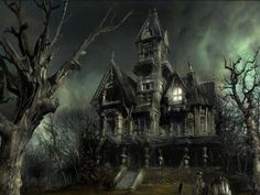 An eerie looking haunted house.