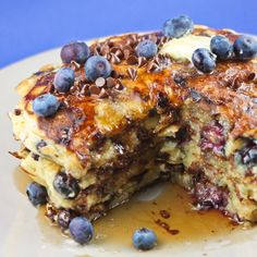 Chocolate Chip Blueberry ButtermilkPancakes |  I figured I couldn't go wrong combining chocolate, blueberries and pancakes. They were super tasty! This recipe made a huge batch, so we have been eating pancakes for breakfast all week. | From: pipandebby.com