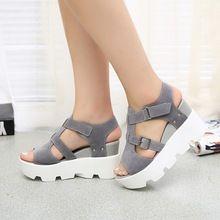 Style romain coins sandales d'été ouvert Toe chaussures mode plate - forme de boucle chaussures à semelles épaisses(China (Mainland))