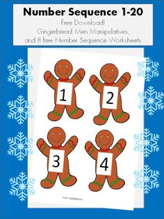 Free Resource! Gingerbread men cookies for putting in number sequence and 8 free worksheets! Go to my blog: https://specialedbootcamp.squarespace.com/math-resources/
