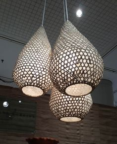 Tucker Robbins showcased these simple yet beautiful pendant lamps made from repurposed fishing baskets/ The woven lamps give new life to disused fishing baskets made by local craftspeople in Sulawesi, Indonesia. Each natural rattan lampshade can be lined with or without rice paper to give the lamp a brighter or more diffuse glow.