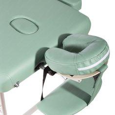"""A Spapro Therapy az Tech Alu masszázságyhoz képest magas szivacsozás jellemzi, ami nem csak kényelmes, de a stabilitást is fokozza. A Lux Alu 2 masszázságy szélei lekerekítettek. Az """"U alakú"""" fejpárna memória szivaccsal van töltve. A fém lábak gombbal állíthatóak, és fertőtleníthetőek. Massage Chair, Furniture, Home Decor, Mint, Decoration Home, Room Decor, Home Furnishings, Home Interior Design, Home Decoration"""
