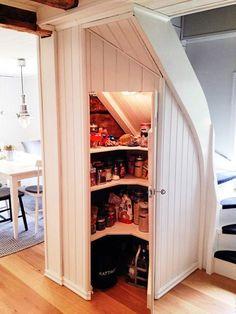 under stair storage Tyni House, Cozy House, Interior Design Studio, Interior Design Living Room, Stair Storage, Storage Under Stairs, Compact Living, Tiny Spaces, Scandinavian Home