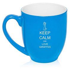 Keep Calm and Love Giraffes blue mug,$14.99 from www.giraffethings.com
