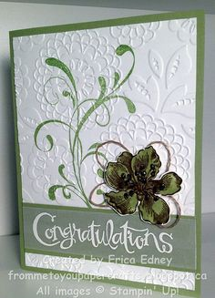 Stamp Sets: Everything Eleanor, Sassy Salutations Card Stock: Pear Pizzazz, Whisper White, Vellum Ink Pads: Pear Pizzazz, Soft Suede, VersaMark (& white embossing powder) Embossing Folders: Lovely Lace Embellishments: Linen Thread, Dazzling Diamonds Other: Chocolate Chip marker