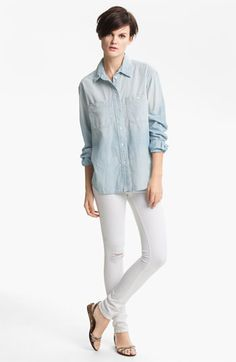TEXTILE Elizabeth and James Shirt & Skinny Jeans | Nordstrom.  Outfit formula:  chambray shirt and white denim.