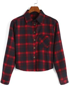 Red Black Lapel Plaid Pocket Crop Blouse , High Quality Guarantee with Low Price!