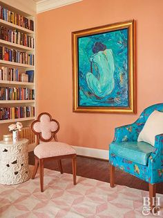 Using one of three complementary color pairings (red and green, purple and yellow, blue and orange) is a surefire way to create a bold and beautiful space. Discover our favorite color schemes featuring complementary colors. Orange Rooms, Orange Walls, Blue Rooms, Lavender Walls, Peach Walls, Room Colors, Wall Colors, Peach Paint Colors, Illusion Kunst