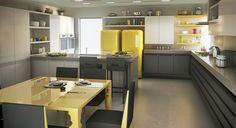 Combinação Cinzas (chao armarios) e amarelo