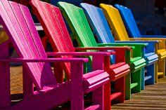 Bright colorful Adirondack chairs