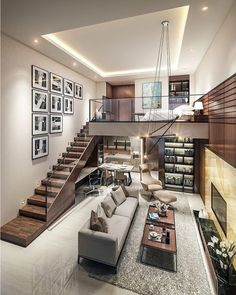 Small Homes That Use Lofts To Gain More Floor Space Loft living by the Urbanist Lab Small Living Rooms, Home And Living, Living Spaces, Family Rooms, Tiny Living, Loft Design, Design Case, Salon Design, Design Design