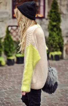 Pop of Neon on a Chunky Knit Sweater