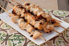 Mango Curry Chicken Skewers - Who Needs A Cape? #chickenrecipes #mango #curry #grilledchicken