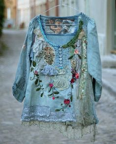 Flower duet-- romantic embroidered blouse, textile collage, wearable art, hand… $268