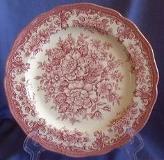Pink Toile Transferware Rose Vintage Platem L