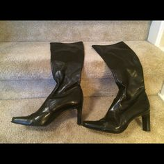 Gianni Bini black boots 8.5M Gianni Bini black leather boots. Slip on.  8.5M worn occasionally. Great condition! Gianni Bini Shoes Heeled Boots