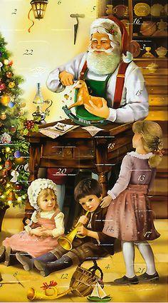 Vintage advent calendar with Santa and kids