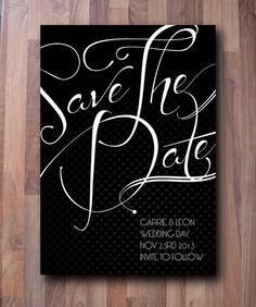 Glam Wedding Save The Date Cards  Black Tie £60.00 for 30