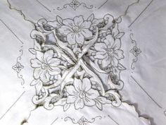 Vintage Madeira Tablecloth Irish Linen Teacloth by VintageLinens, $32.00