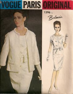Vintage 1960's Dress and Jacket Pattern Vogue Paris Original 1396 Balmain. $45.00, via Etsy.