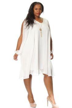 3fdfdca70bc Plus Size Slit Sleeve Chiffon Shift Dress w  Necklace Curvy Women Fashion