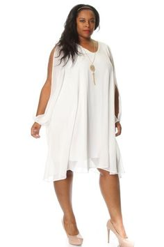 Plus Size Slit Sleeve Chiffon Shift Dress w/ Necklace