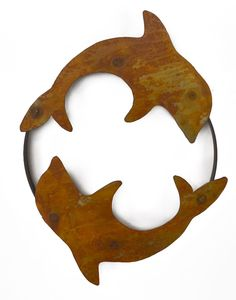 Circling Dolphins Metal Wall Sculpture WS1204 - Oregardenworks Home and Garden