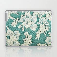 white lace - photo of vintage white lace Laptop & iPad Skin by Sylvia Cook Photography - $25.00