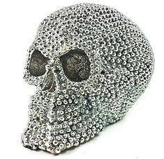 realistic replica human skull statue with silver stone sc