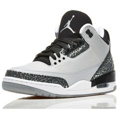An Official Look At The 'Wolf Grey' Air Jordan 3 Retro ❤ liked on Polyvore featuring shoes, jordans and sneakers